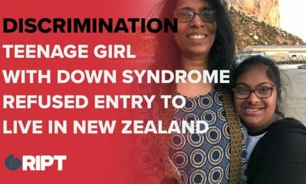 BARRED because she had Down Syndrome: campaigners protested a decision by New Zealand to refuse Bumikka Suhinthan entry