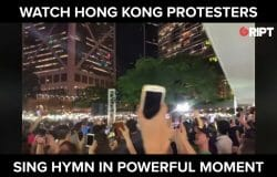 Hong Kong protestors sing hymn in powerful moment