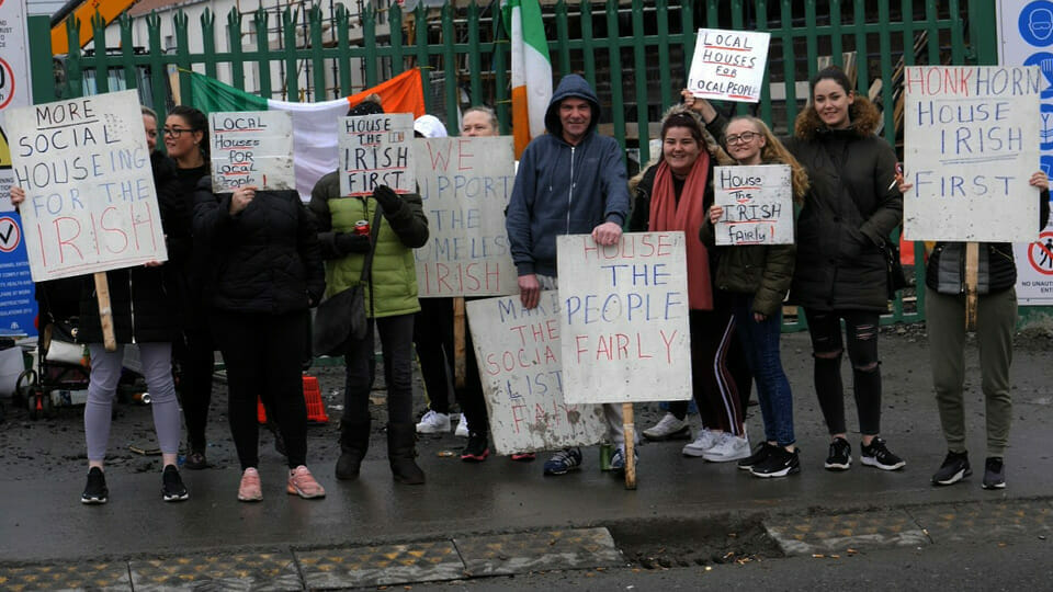 """""""House the Irish First"""": protesters gather outside Dublin housing development"""