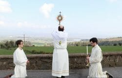 Bishop offers Mass at first Christian monastic site as coronavirus spreads